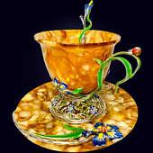 Чайный набор из янтаря «Ирис» с декором из белой бронзы или серебра 875 пробы и эмали