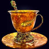 Чашка чайная «Исполнение желаний» с декором из белой бронзы