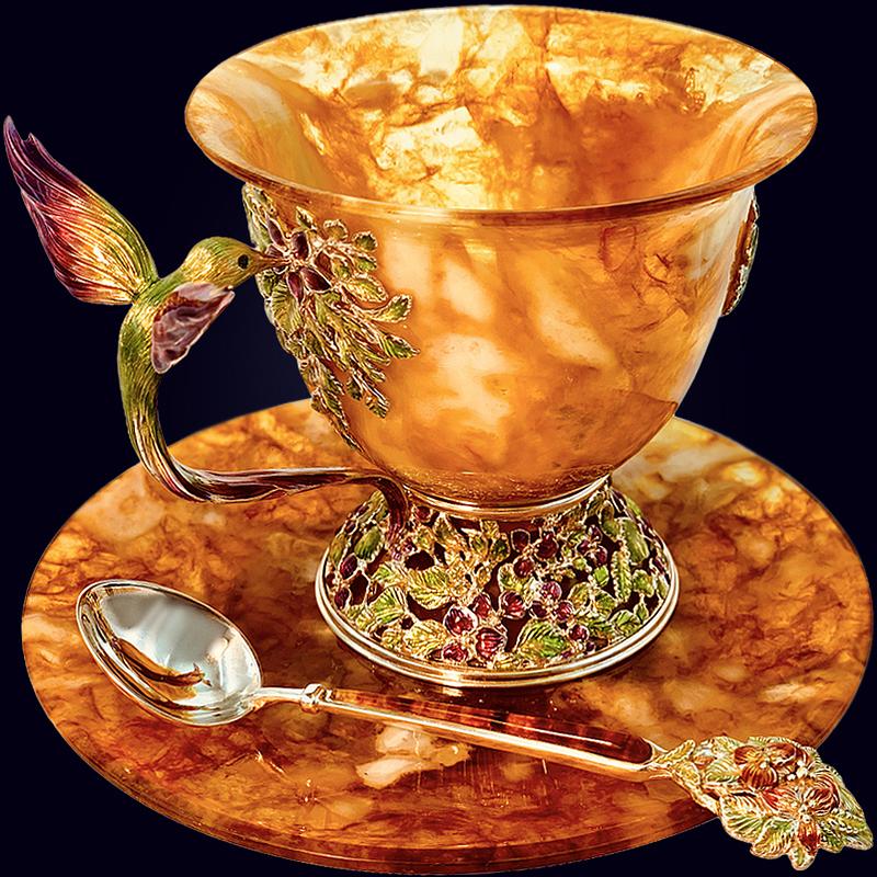 Чашка чайная «Колибри» с декором из белой бронзы