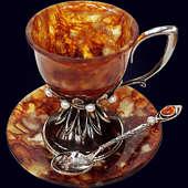 Чашка кофейная «Императрица» с декором из белой бронзы