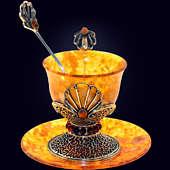 Чашка кофейная «Петр» из янтаря с декором из белой бронзы