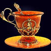 Чашка чайная «Пётр I» из янтаря с декором из белой бронзы