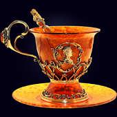 Чашка чайная «Екатерина» из янтаря с декором из белой бронзы