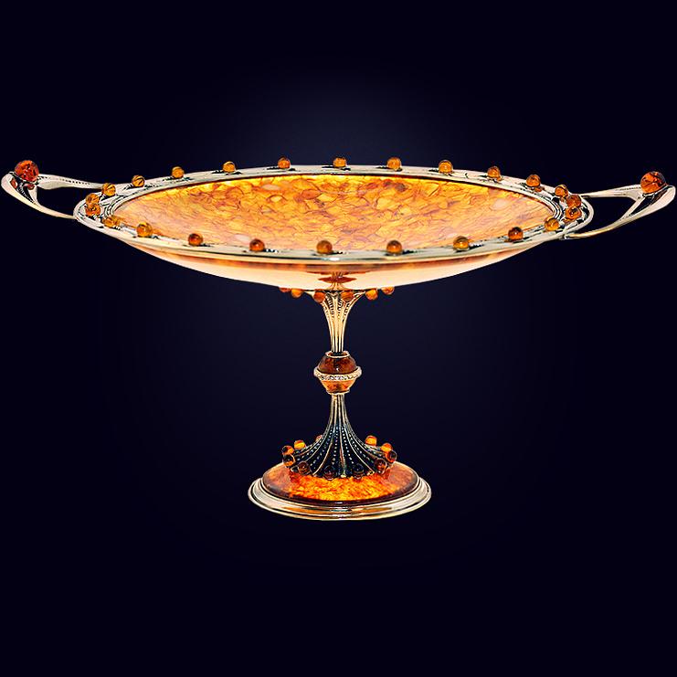 Ваза-конфетница из янтаря с декором из белой бронзы