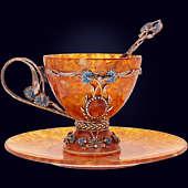 Чайная чашка «Васильки» из янтаря с ложечкой с декором из белой бронзы