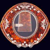 Фоторамка «Стрекозы» с жемчугом из янтаря с декором из белой бронзы