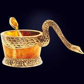 Солонка янтарная из янтаря с декором из белой бронзы