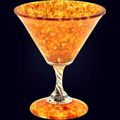 Фужер для мартини из янтаря с декором из белой бронзы