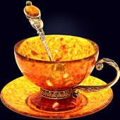 Чайный набор из янтаря с ложкой с декором из белой бронзы