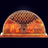 Салфетница «Солнышко» из янтаря с декором из белой бронзы