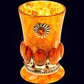 Стопка «Солнышко» из янтаря с декором из белой бронзы