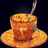 Чашечка для кофе «Лето» из янтаря с декором из белой бронзы