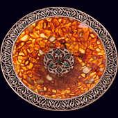 Блюдо «Восточная сказка» из янтаря с декором из белой бронзы