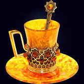 Кофейная чашка «Визирь» из янтаря с декором из белой бронзы