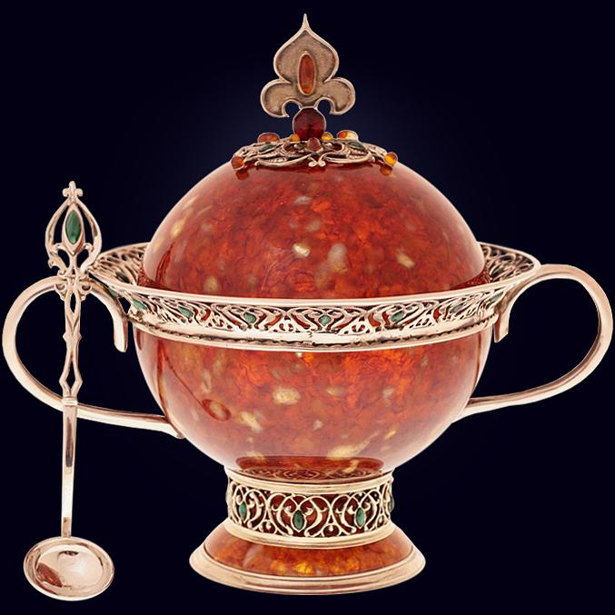 Сахарница «Восточная сказка» из янтаря с ложечкой с декором из белой бронзы