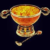 Салатница «Креветки» из янтаря с ложкой с декором из белой бронзы