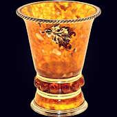 Cтопка «Виноград» из янтаря с декором из белой бронзы