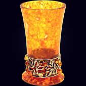 Стопка «Виноград» из янтаря с декором из белой бронзы