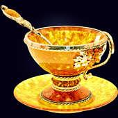 Чайный набор «Виноград» из янтаря с ложечкой с декором из белой бронзы