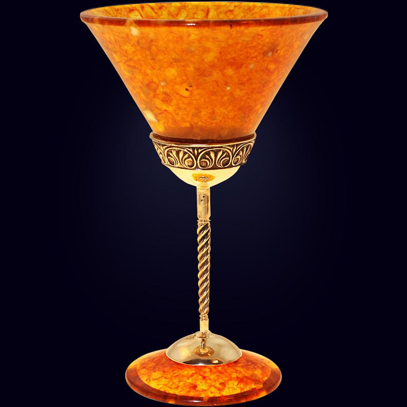 Бокал для мартини «Антик» из янтаря с декором из белой бронзы