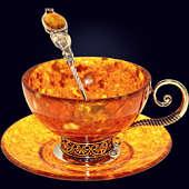 Чайный набор «Антик» из янтаря с декором из белой бронзы