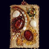 Зеркало из натуральной кожи и полудрагоценных камней