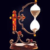 Часы песочные сувенирные с декором из белой бронзы