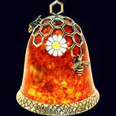 Колокольчик «Медовый» из янтаря с декором из белой бронзы и эмали