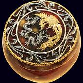Шкатулка «Дракон и Феникс» с декором из белой бронзы
