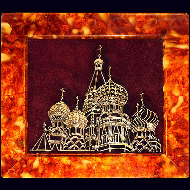 Панно «Храм» из янтаря с декором из белой бронзы