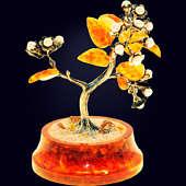 Сувенир «Цветущая сакура» из янтаря с декором из серебра 875 пробы или белой бронзы и речного жемчуга