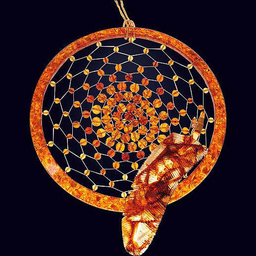 Сувенир «Ловушка для снов» из янтаря