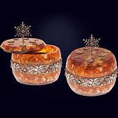 Шкатулка «Зима» из янтаря с декором из белой бронзы и кристаллов Сваровски