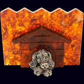 Символ года сувенир «Пёс в будке» с декором из белой бронзы