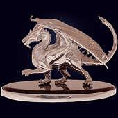 Сувенир «Дракон» из янтаря с декором из белой бронзы