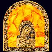 Иконка «Богородица» из янтаря с декором из белой бронзы