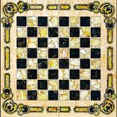 """Шахматы """"Арабески Марин"""" 42х42 см из карельской березы с инкрустацией янтарём"""