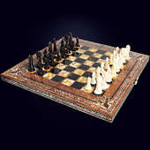 "Шахматы ""Арабески Тина"" 56х56 см из корня ореха с инкрустацией янтарём"