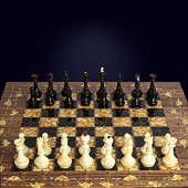 "Шахматы ""Готика"" из корня ореха с инкрустацией янтарём"