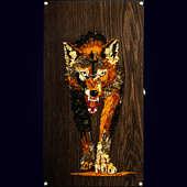 """Нарды """"Волк классика"""" из морёного дуба с инкрустацией янтарём"""
