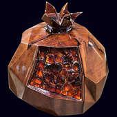 """Сувенир """"Гранат"""" из экзотических пород древесины с инкрустацией янтарём"""