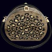 """Женская сумочка """"Ягуар"""" из экзотических пород древесины с инкрустацией янтарём"""