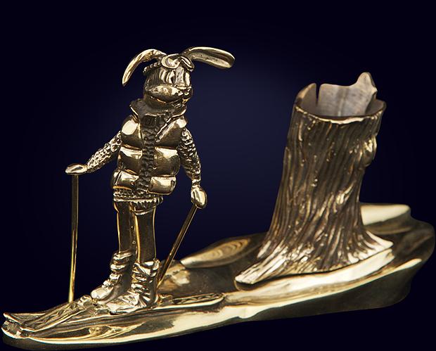 Карандашница «Заяц на лыжах»