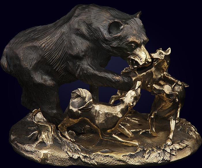 Скульптурная композиция «Охота на медведя»