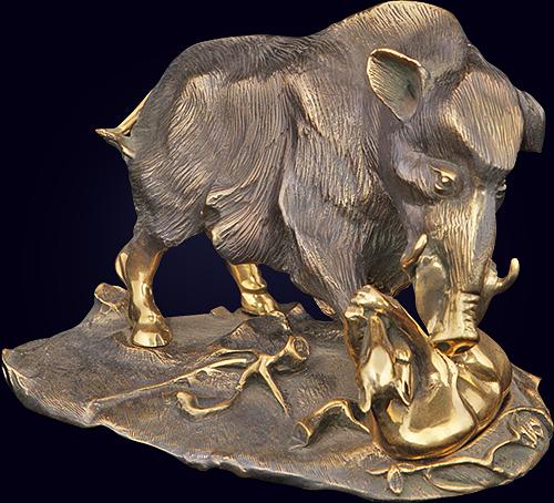 Скульптурная композиция «Охота на кабана»