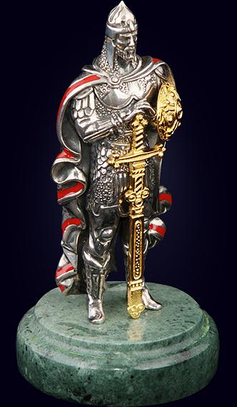 Композиция «Александр Невский» из серебра с золочением на нефритовом пьедестале