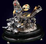 Ювелирная композиция «Магия живописи» из серебра на нефритовом пьедестале