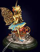 Ювелирная композиция «Зимний ангел» из серебра на нефритовом пьедестале