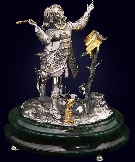 Ювелирная композиция «Магия поэзии» из серебра на нефритовом пьедестале