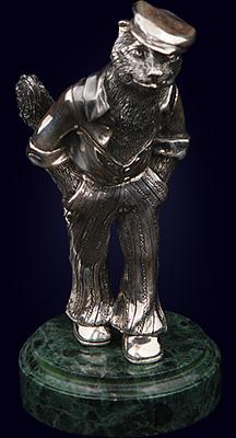 Серебряная статуэтка «Кот в кепке»